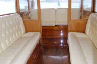 venice taxi boat inside
